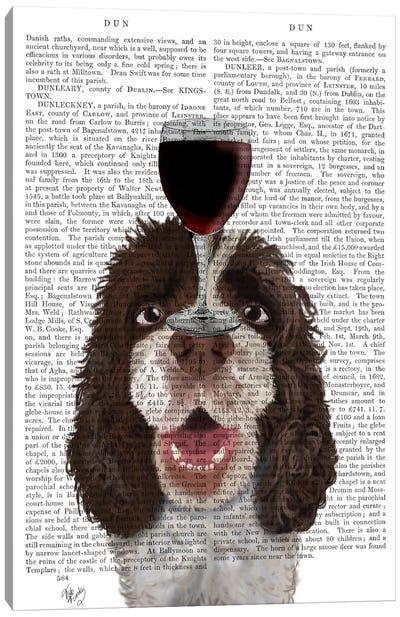 Dog Au Vin, Springer Spaniel, Print BG Canvas Art Print