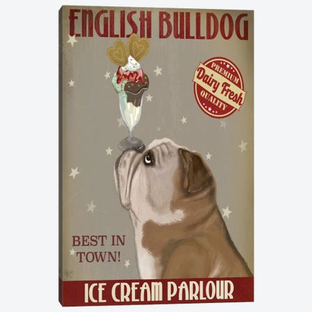 English Bulldog Ice Cream Canvas Print #FNK620} by Fab Funky Canvas Wall Art