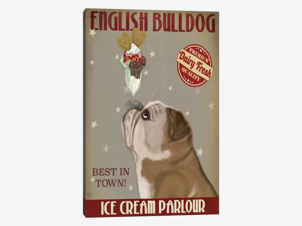 English Bulldog Ice Cream by Fab Funky 1-piece Canvas Wall Art