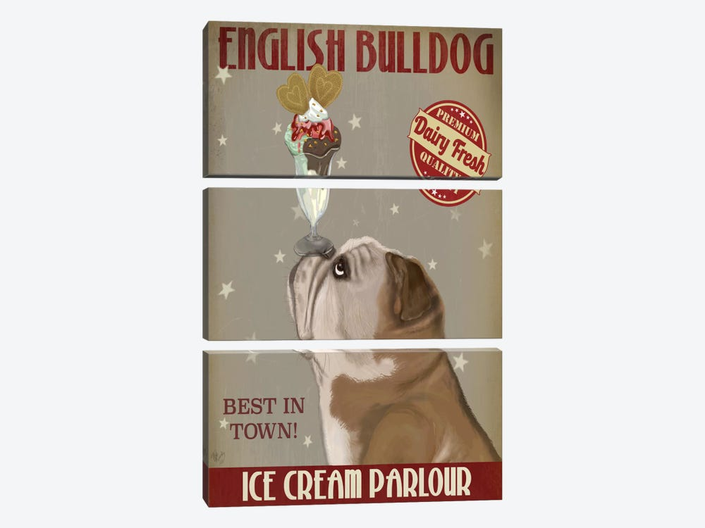English Bulldog Ice Cream 3-piece Canvas Art