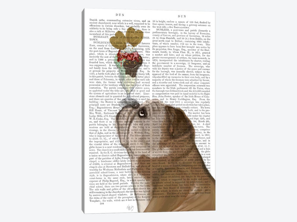 English Bulldog Ice Cream, Print BG by Fab Funky 1-piece Canvas Art Print