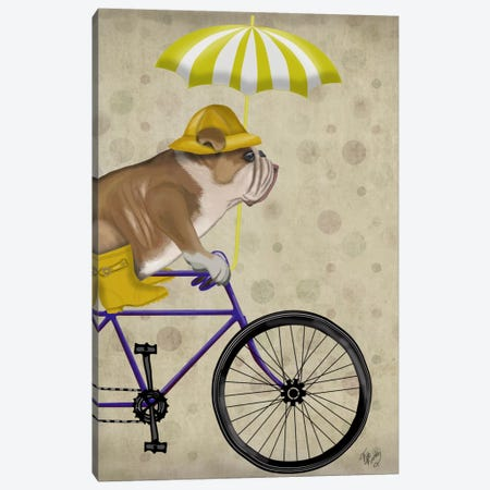 English Bulldog on Bicycle Canvas Print #FNK622} by Fab Funky Canvas Wall Art