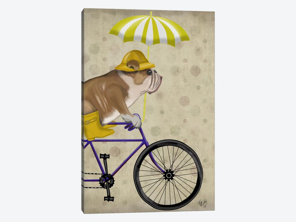 English Bulldog on Bicycle by Fab Funky 1-piece Canvas Artwork