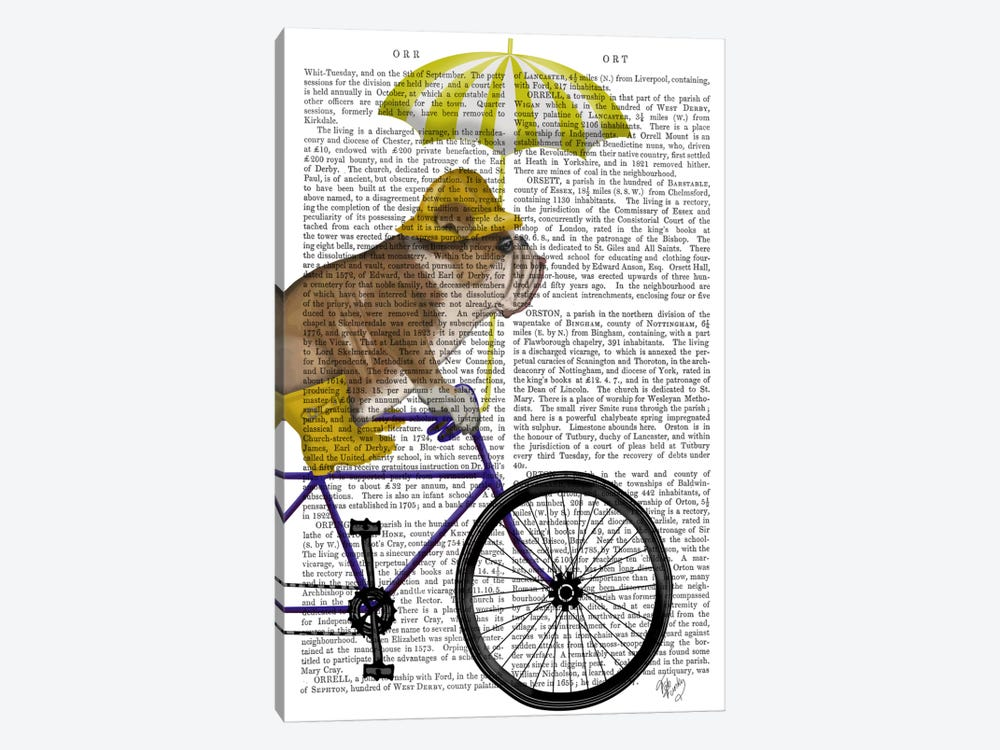 English Bulldog on Bicycle, Print BG 1-piece Art Print
