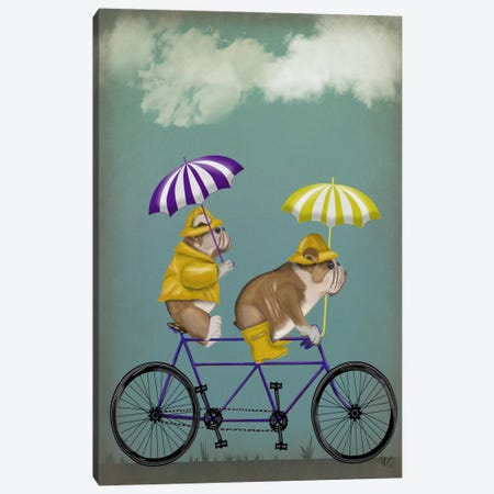 English Bulldog Tandem Canvas Print #FNK624} by Fab Funky Canvas Art Print