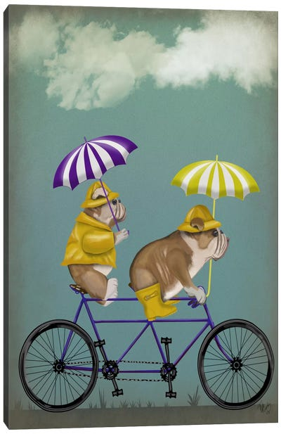 English Bulldog Tandem Canvas Art Print