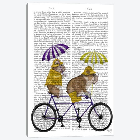 English Bulldog Tandem, Print BG Canvas Print #FNK625} by Fab Funky Canvas Print
