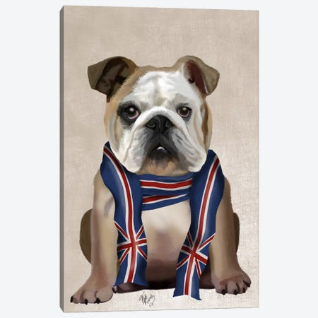 English Bulldog with Scarf Canvas Print #FNK626} by Fab Funky Canvas Print