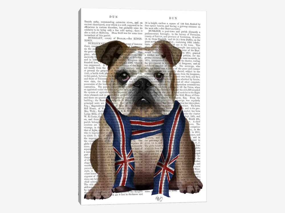English Bulldog with Scarf, Print BG by Fab Funky 1-piece Canvas Print