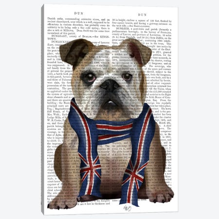 English Bulldog with Scarf, Print BG Canvas Print #FNK627} by Fab Funky Canvas Print