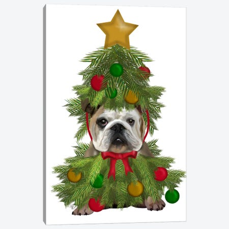 English Bulldog, Christmas Tree Costume Canvas Print #FNK628} by Fab Funky Canvas Art