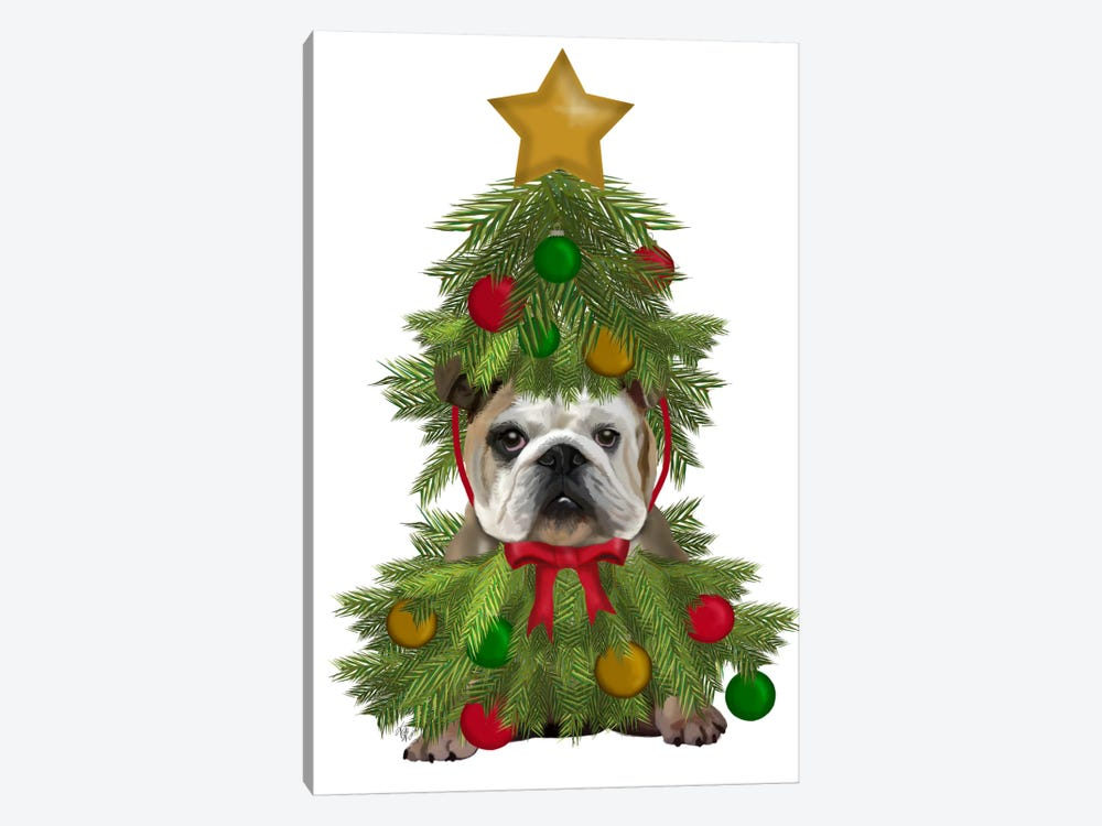 English Bulldog, Christmas Tree Costume by Fab Funky 1-piece Canvas Art
