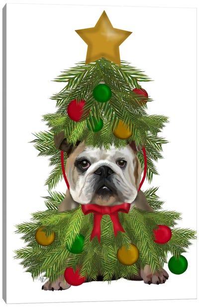 English Bulldog, Christmas Tree Costume Canvas Art Print