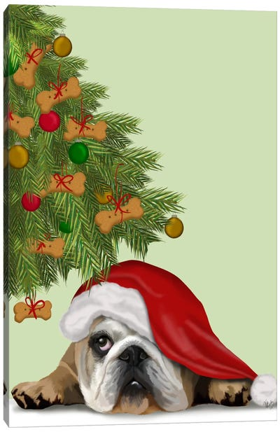 English Bulldog, Cookie Tree Canvas Art Print