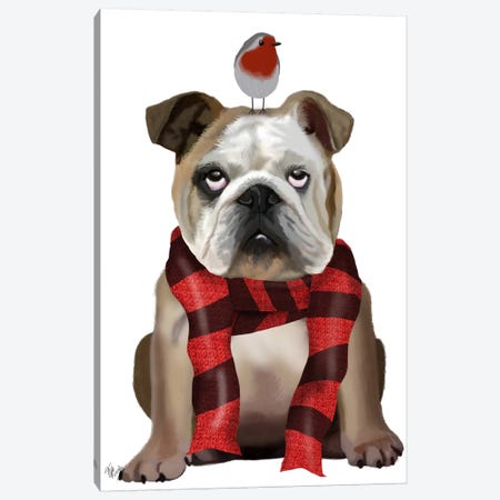 English Bulldog, Scarf and Robin Canvas Print #FNK630} by Fab Funky Canvas Print