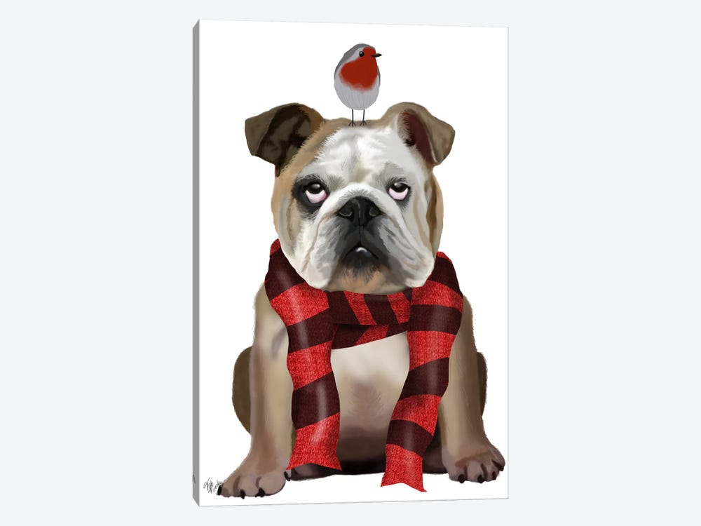 English Bulldog, Scarf and Robin by Fab Funky 1-piece Canvas Print