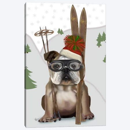 English Bulldog, Skiing Canvas Print #FNK631} by Fab Funky Canvas Print