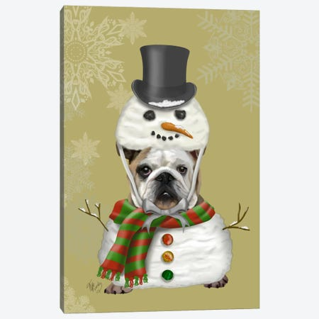 English Bulldog, Snowman Costume Canvas Print #FNK632} by Fab Funky Canvas Print
