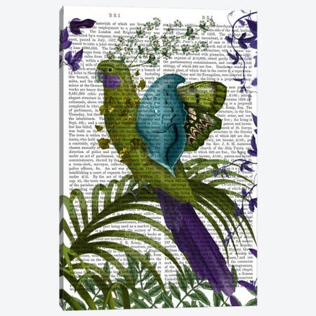 Fantasy Parrot I, Print BG Canvas Print #FNK633} by Fab Funky Art Print