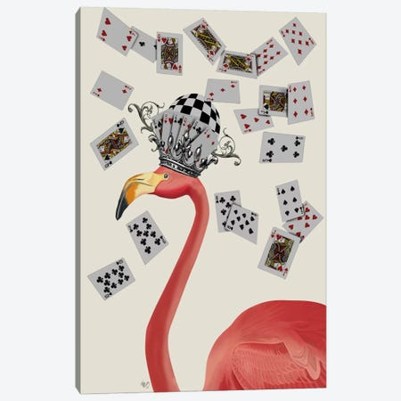 Flamingo and Cards Canvas Print #FNK634} by Fab Funky Canvas Artwork