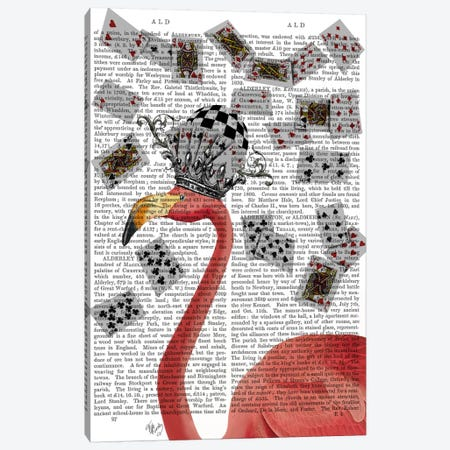 Flamingo and Cards, Print BG Canvas Print #FNK635} by Fab Funky Canvas Art