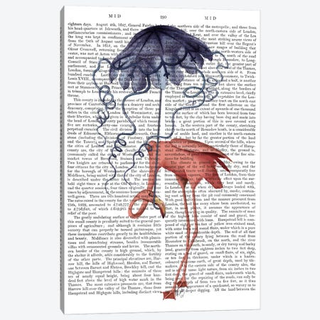 Flamingo and Parasol Canvas Print #FNK636} by Fab Funky Canvas Wall Art