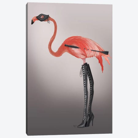Flamingo with Kinky Boots Canvas Print #FNK637} by Fab Funky Canvas Wall Art