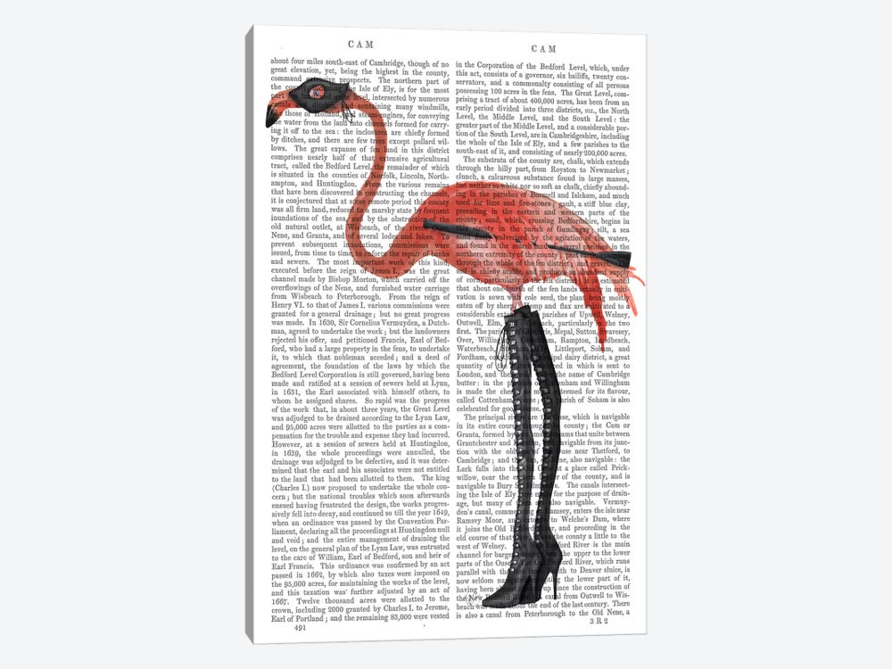 Flamingo with Kinky Boots, Print BG by Fab Funky 1-piece Canvas Art Print