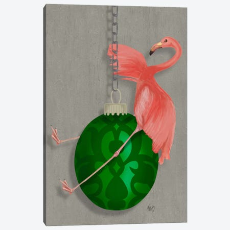 Flamingo Wrecking Ball Canvas Print #FNK639} by Fab Funky Art Print