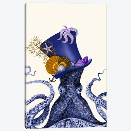 Octopus Nautical Hat Canvas Print #FNK63} by Fab Funky Canvas Art Print