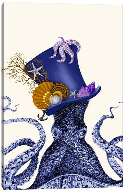 Octopus Nautical Hat Canvas Art Print