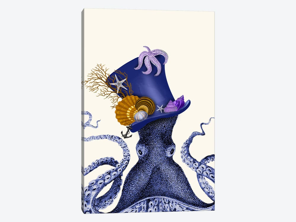Octopus Nautical Hat by Fab Funky 1-piece Canvas Print