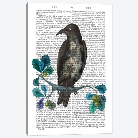 Floral Crow On Branch Canvas Print #FNK640} by Fab Funky Canvas Wall Art