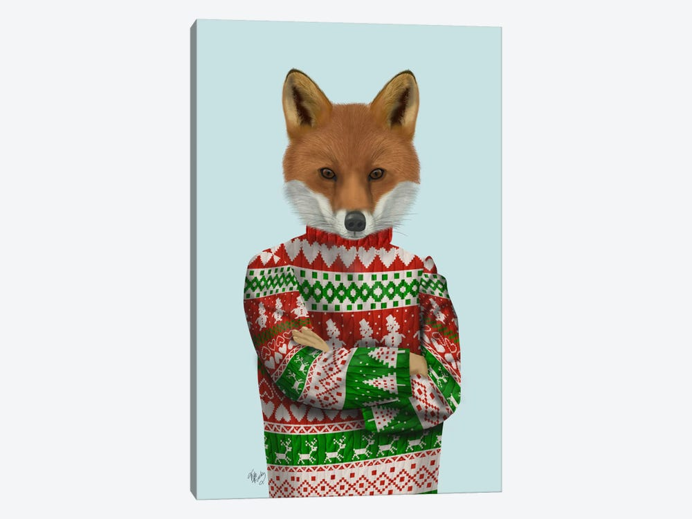 Fox in Christmas Sweater by Fab Funky 1-piece Canvas Print