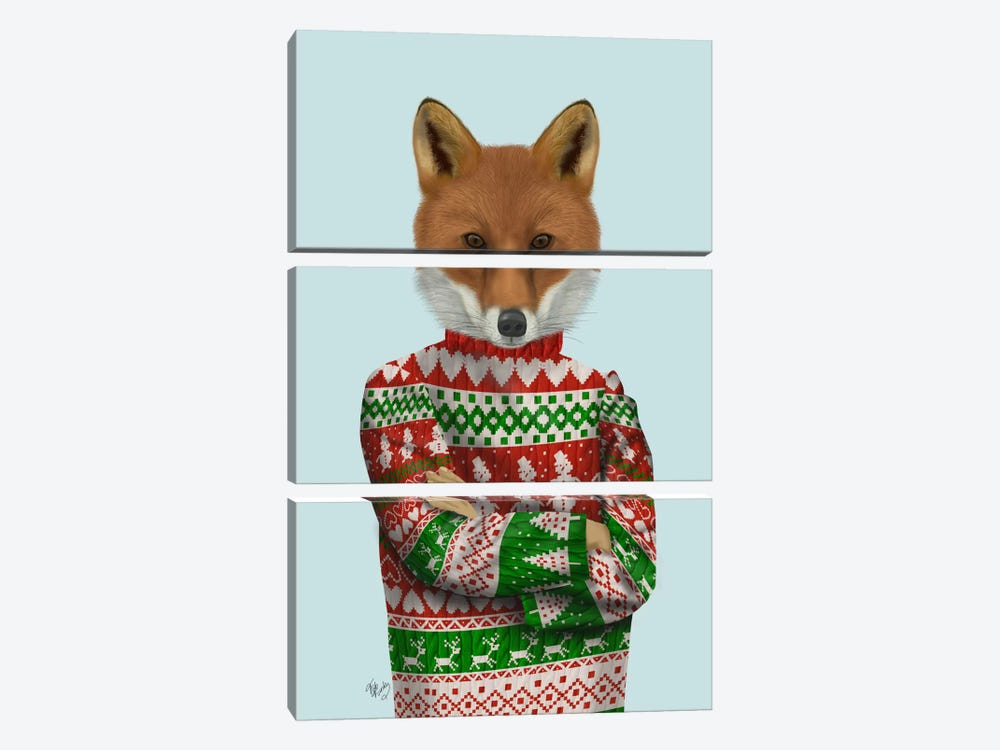 Fox in Christmas Sweater 3-piece Canvas Print