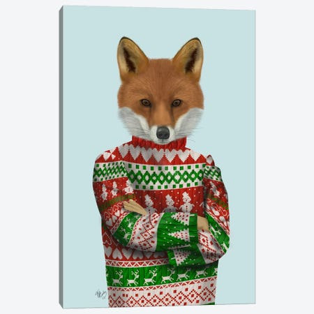 Fox in Christmas Sweater Canvas Print #FNK641} by Fab Funky Canvas Wall Art