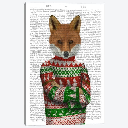 Fox in Christmas Sweater, Print BG Canvas Print #FNK642} by Fab Funky Canvas Artwork