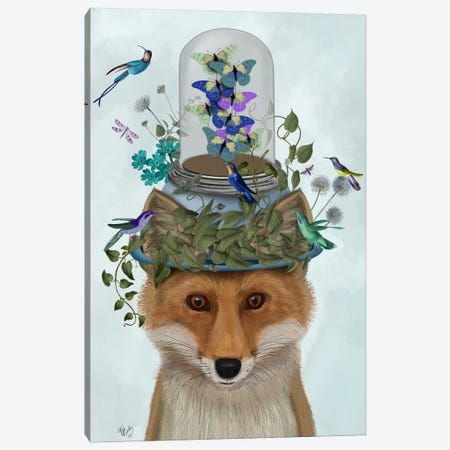 Fox with Butterfly Bell Jar Canvas Print #FNK643} by Fab Funky Canvas Artwork