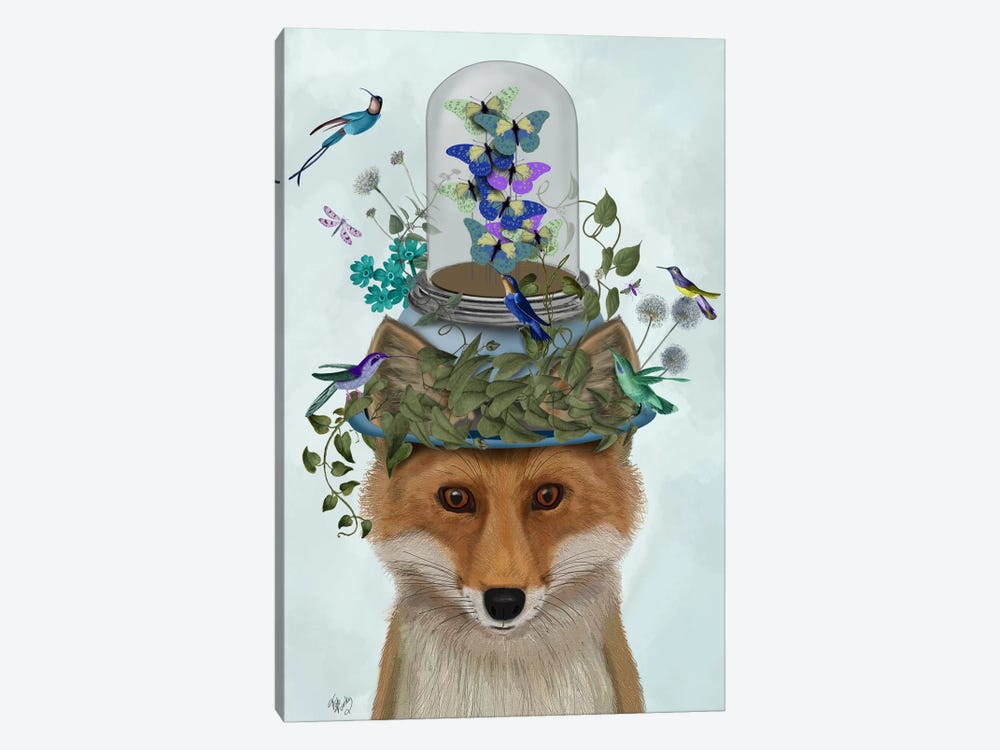 Fox with Butterfly Bell Jar by Fab Funky 1-piece Canvas Print