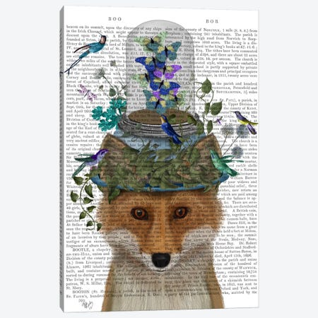 Fox with Butterfly Bell Jar, Print BG Canvas Print #FNK644} by Fab Funky Canvas Art Print