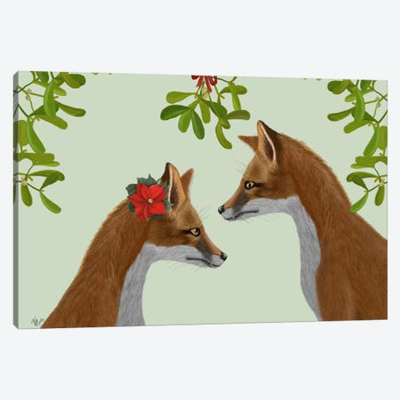 Foxes and Mistletoe Canvas Print #FNK645} by Fab Funky Art Print