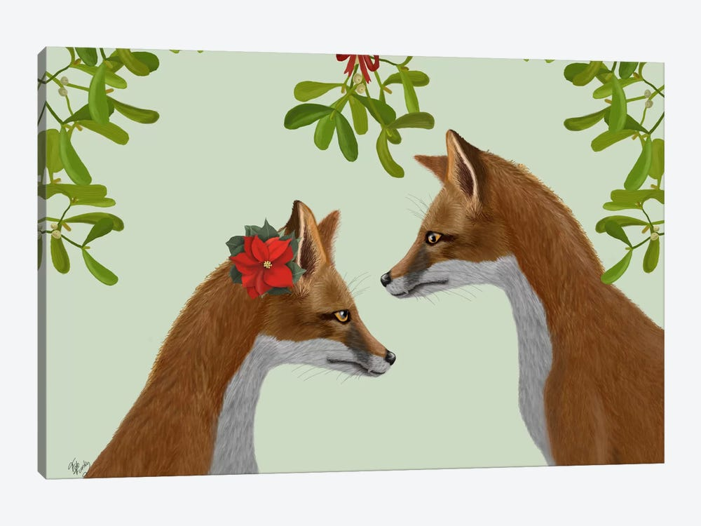 Foxes and Mistletoe by Fab Funky 1-piece Art Print