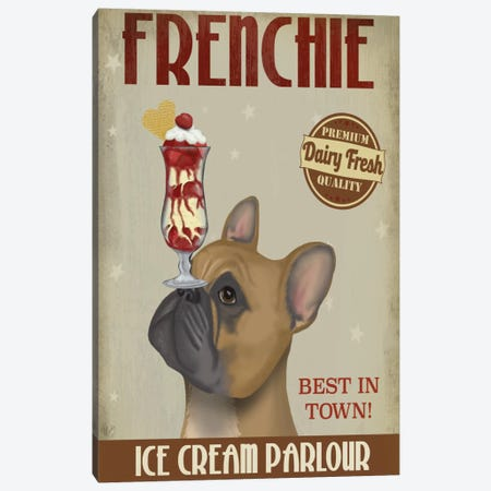 French Bulldog Ice Cream Canvas Print #FNK648} by Fab Funky Canvas Art