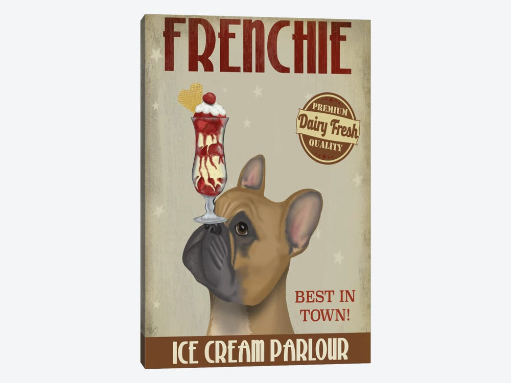 French Bulldog Ice Cream by Fab Funky 1-piece Canvas Art