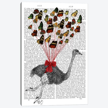 Ostrich Flying With Butterflies Canvas Print #FNK64} by Fab Funky Canvas Art