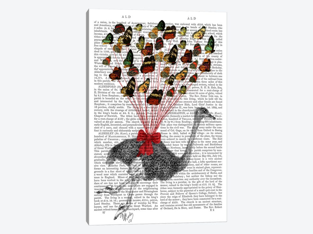 Ostrich Flying With Butterflies by Fab Funky 1-piece Canvas Wall Art