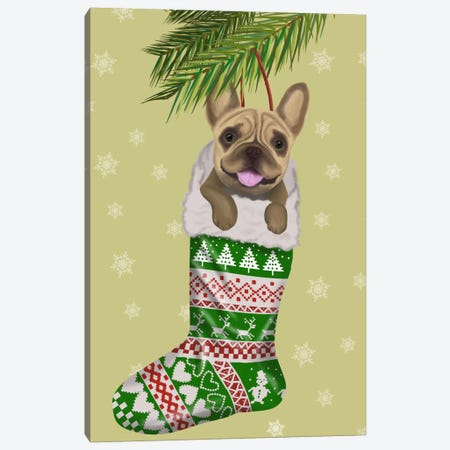 French Bulldog in Christmas Stocking Canvas Print #FNK650} by Fab Funky Canvas Art Print