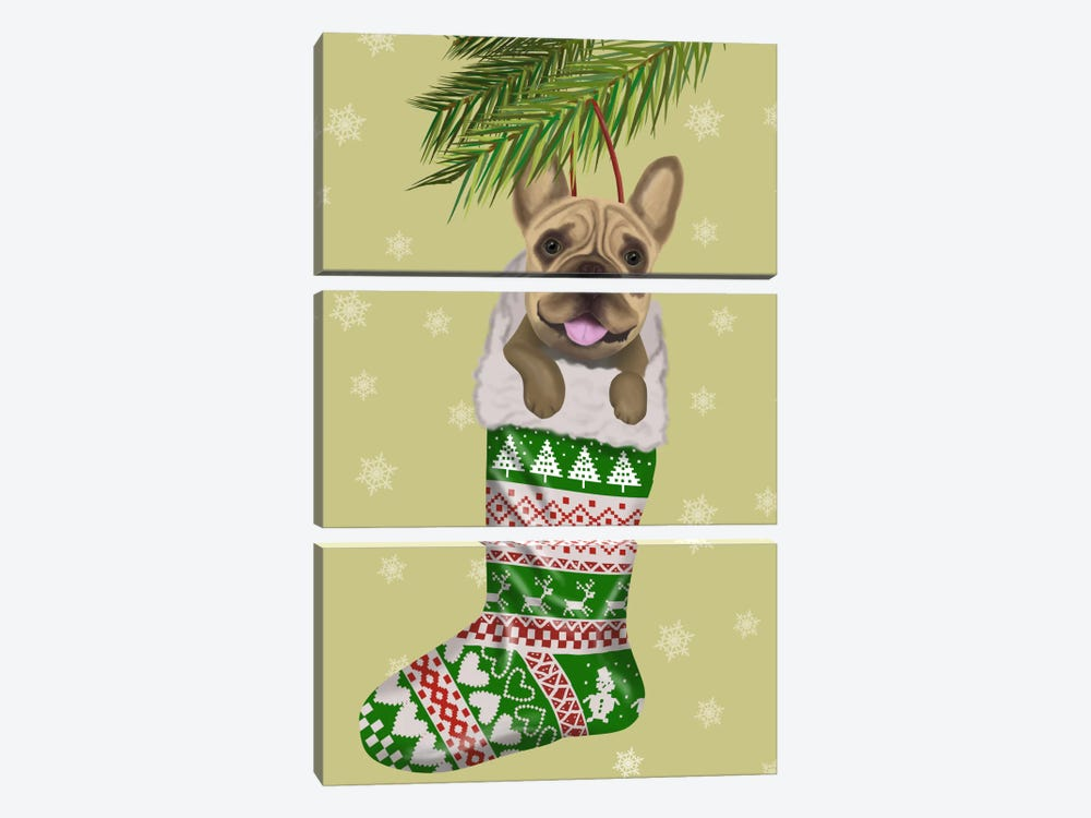 French Bulldog in Christmas Stocking by Fab Funky 3-piece Canvas Print