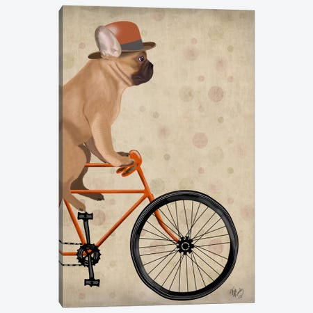 French Bulldog on Bicycle Canvas Print #FNK651} by Fab Funky Art Print