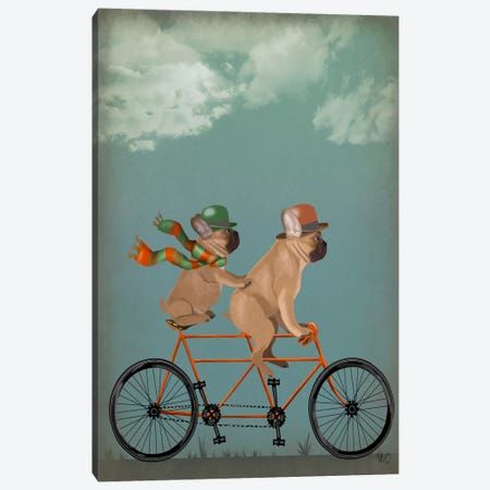 French Bulldog Tandem Canvas Print #FNK653} by Fab Funky Art Print